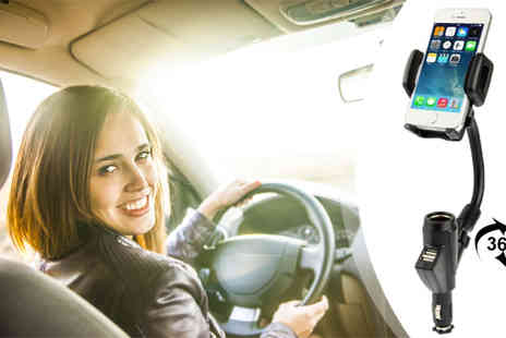 Euro Field - Car Smartphone Holder with Dual USB Ports - Save 47%