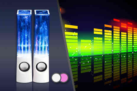 Chimp Electronics - Pair of dancing water speakers in a choice of pink or white - Save 78%