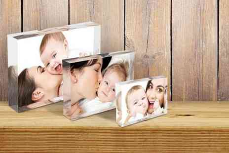 1ClickPrint - Three  personalised acrylic photo blocks - Save 84%