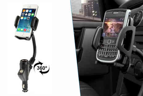 Rose River - Dual USB Port Car Phone Charger and Holder - Save 53%
