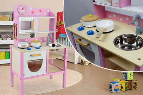 UK Toys  - Butternut white and pink wooden play kitchen - Save 40%