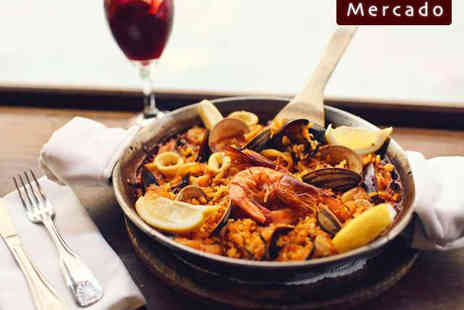 Mercado - Olives and Bread, Paella to Share, and Glass of Sangria Each for Two - Save 50%