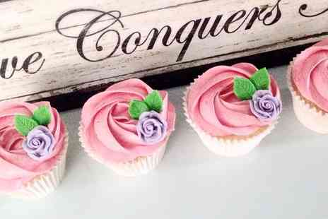 Buttercream Bakery - 12 Luxury Strawberry and Champagne Cupcakes - Save 76%