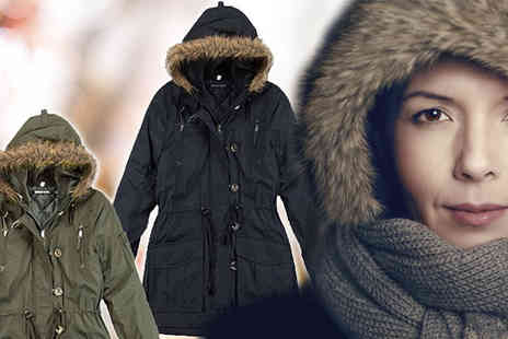 Nothing New 2 Wear - Womens Parka Jacket with Faux Fur Hood - Save 67%