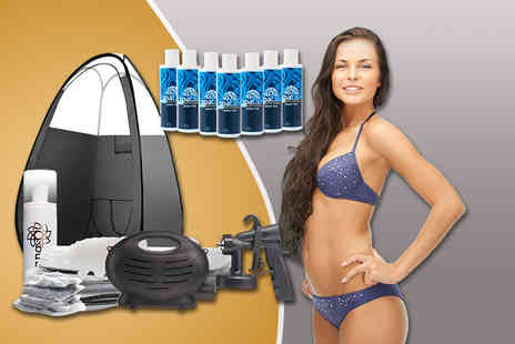 Sienna Sol - Home spray tanning kit including seven Spatan tan solutions and a pop up spray tan tent - Save 66%