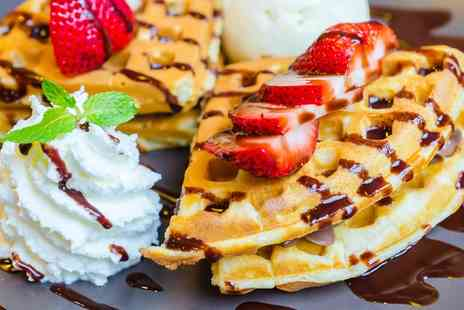 Whipee Gelato - Waffles, Crepes or Sundaes with Hot Drinks for Two - Save 51%