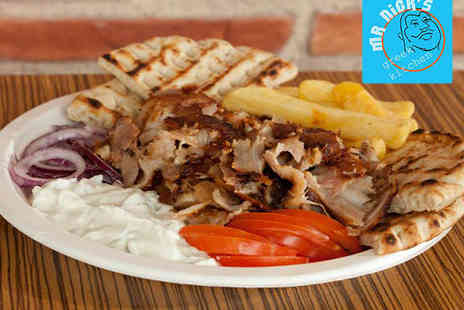 Mr Nicks Greek - Starter to Share with Gyros Main Course, Dessert, and Coffee Each for Two  - Save 56%
