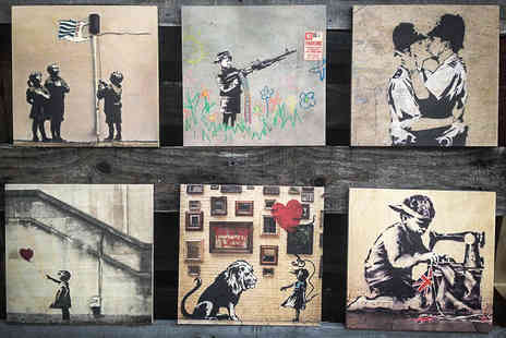 Woodpic - Banksy Urban Art Printed on Wood in a Choice of Sizes   - Save 59%