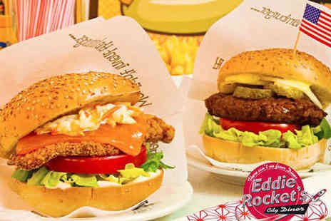 Eddie Rockets City Diner - Main Course with Starter or Side and Milkshake Each for Two - Save 0%