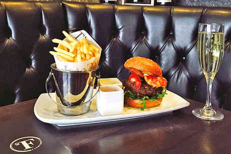 Fahrenheit Burger & Champagne Bar - Gourmet Burger, Sides and Wine for Two  - Save 39%