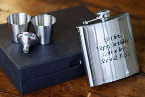 Printmy photo - Personalised Engraved Hip Flask - Save 65%