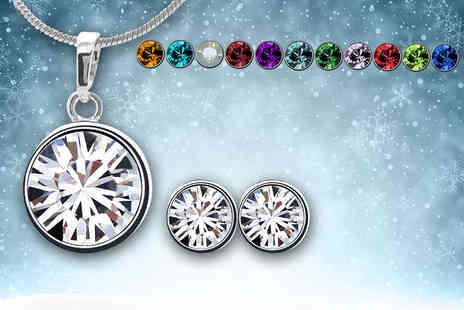 Jewelian - Birthstone earring and pendant set made with Swarovski Elements - Save 90%
