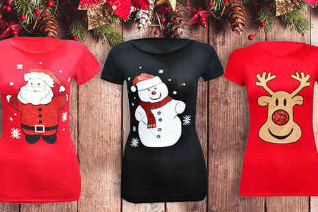 Divinity Fashion  - Ladies Christmas T Shirts Available in 8 Designs - Save 75%
