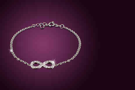 Jewel Unique -   18ct white gold plated infinity bracelet or infinity necklace   - Save 91%