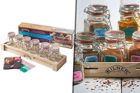 Hungry Bazaar -  20 piece spice jar gift set including 6 Kilner jars - Save 52%
