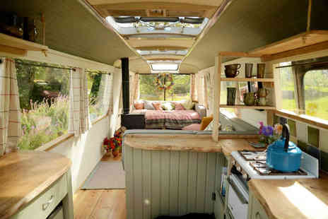 Majestic Bus - Two night break for up to four  in a converted 1960s panoramic bus in Hay-on-Wye, Herefordshire - Save 0%