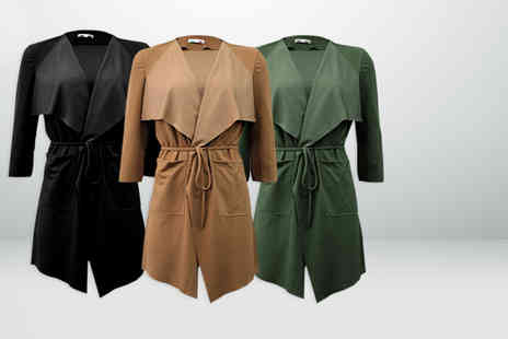 Top Notch Fashion Designer - Sleeve belted waterfall jacket  - Save 79%