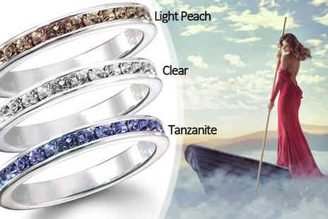 Jewelian - Crystal Eternity Ring with Sparkling Crystals - Save 0%