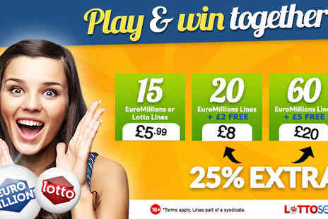 Lottosocial - 15 EuroMillions & UK Lotto Lines Additional £2 or £5 Credit   - Save 0%