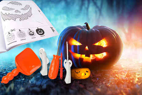 Cost Mad - Halloween pumpkin carving kit with LED light and 16 page stencil book - Save 50%
