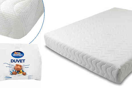 Fishoom - Memory Foam Mattress with 10.5 tog Silent Night Duvet & Pillows - Save 70%