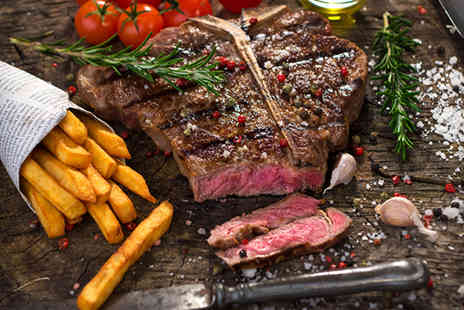 Steakhouse - Stone steak meal including chips salad and a glass of wine - Save 55%
