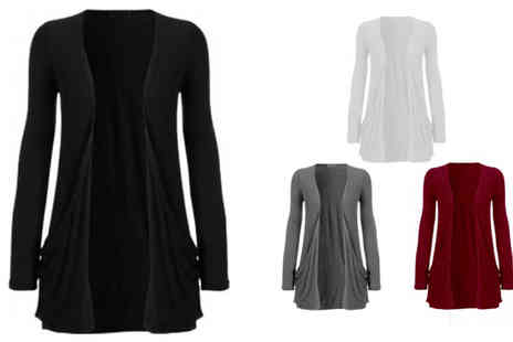Divinity Fashion - Open Front Boyfriend Cardigan - Save 60%