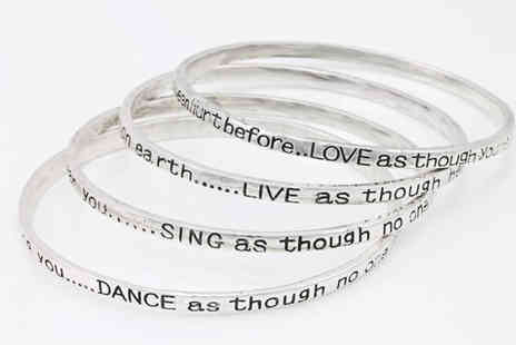 Freemind Media - Four Silver Plated Poetry Bangles - Save 0%