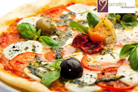 Marcellos Restaurant  - Starter and Main Course Pizza, Pasta, or Risotto with Glass of Prosecco or Wine Each for Two - Save 63%