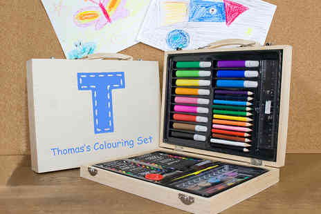 Treat Republic - 63 Piece Personalised Kids Art Set Creative Christmas Gift Ideas - Save 53%