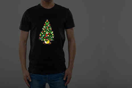 BGS - Sound activated LED light up Christmas T shirt in a choice of 3 designs - Save 40%