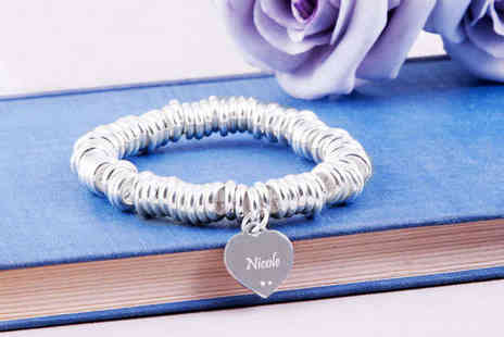 Jewelian - Personalised Moon and Back Charm Bracelet - Save 82%