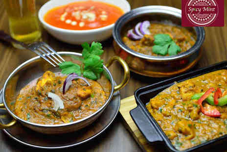 Spicy Mint - Curry and Poppadom with Rice or Naan Each, and Dips to Share for Two  - Save 0%