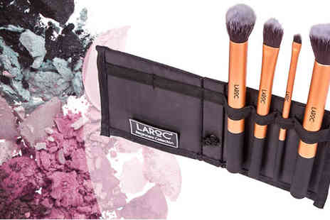 Afrapoco - 4pc or 10pc LaRoc Make Up Brush Set with Case - Save 80%