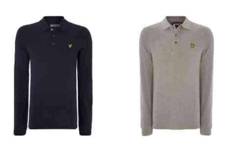 Brands Village - Mens Lyle and Scott Long Sleeve Polo Shirt - Save 55%