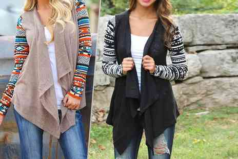 LOVE TTI -  Aztec print waterfall cardigan   - Save 70%