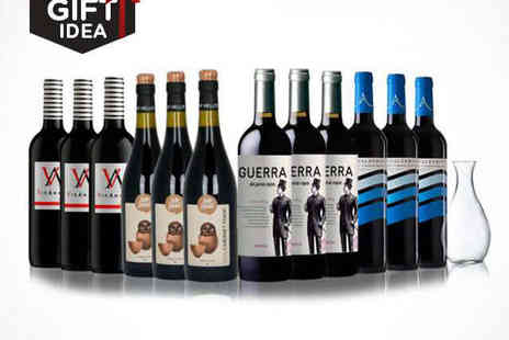 Spanish Wine - 12 Bottle Case of Spanish Red Wine with Decanter - Save 54%