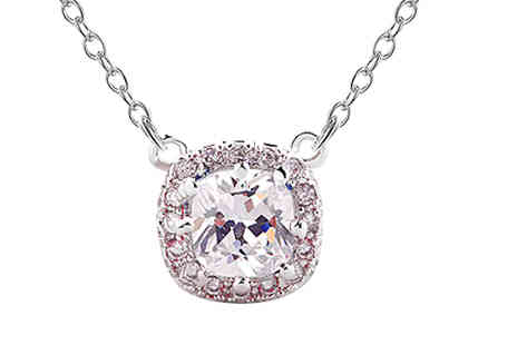 Van Amstel Diamond  - Crystal Square Necklace - Save 81%