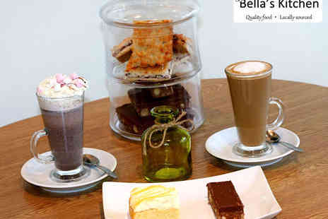 Bellas Kitchen - Cake with Hot Drink, Milkshake, or Frappe Each for Two  - Save 50%
