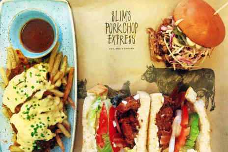 Slims Pork Chop Express - Burger or Sandwich with Fries to Share for Two - Save 0%