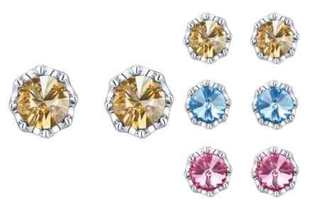 Lumax Design - Pair of Swarovski Embellished Flower Stud Earrings - Save 52%