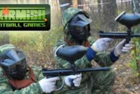 Skirmish Central - Paintball Experience For Up to Ten Players With 100 Paintballs and Hot Dog Each - Save 88%