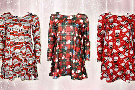Topnotch Fashion Designer  - Christmas Print Long Sleeved Swing Dress in 9 Festive Designs - Save 78%