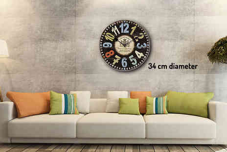 HomeStore Direct - 34cm Vintage Retro Wall Clock - Save 53%