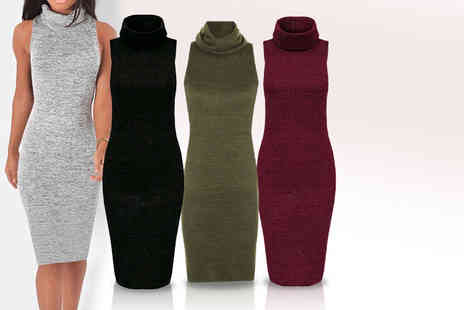 Top Notch Fashion Designer - Cowl neck tunic bodycon dress choose from Four colours - Save 75%