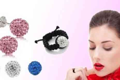 Gifts4u - £7 instead of £29.99 for a choice of Sparkly Shamballa-style Earrings or Ring - Save 77%