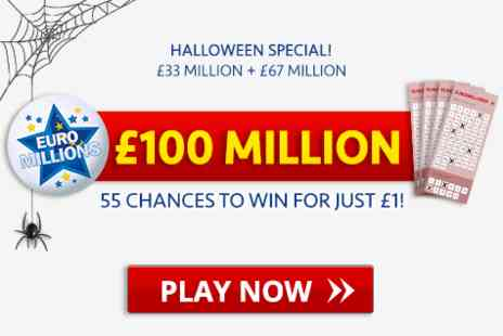 Playlottery - EuroMillions £100 Million Halloween Special Get 55 chances - Save 0%