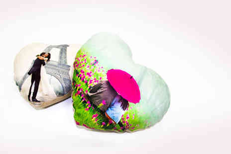 Dip Into Sales - Small heart shaped personalised photo cushion - Save 57%