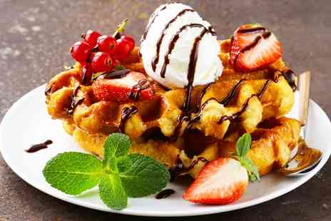 Trifles Bakery - Hot Belgian Waffle and Milkshake or Hot Chocolate for Two  - Save 31%