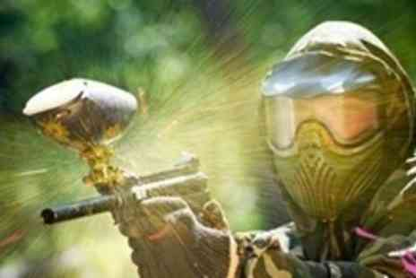 Paintball UK - Up to Six Hours of Paintball For Ten With 100 Paintballs and Hot Dog Each - Save 91%